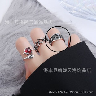 Retro and old Korean version of Dadongmen fashion men's and women's ring belt head Thai silver ring opening personality ring jewelry