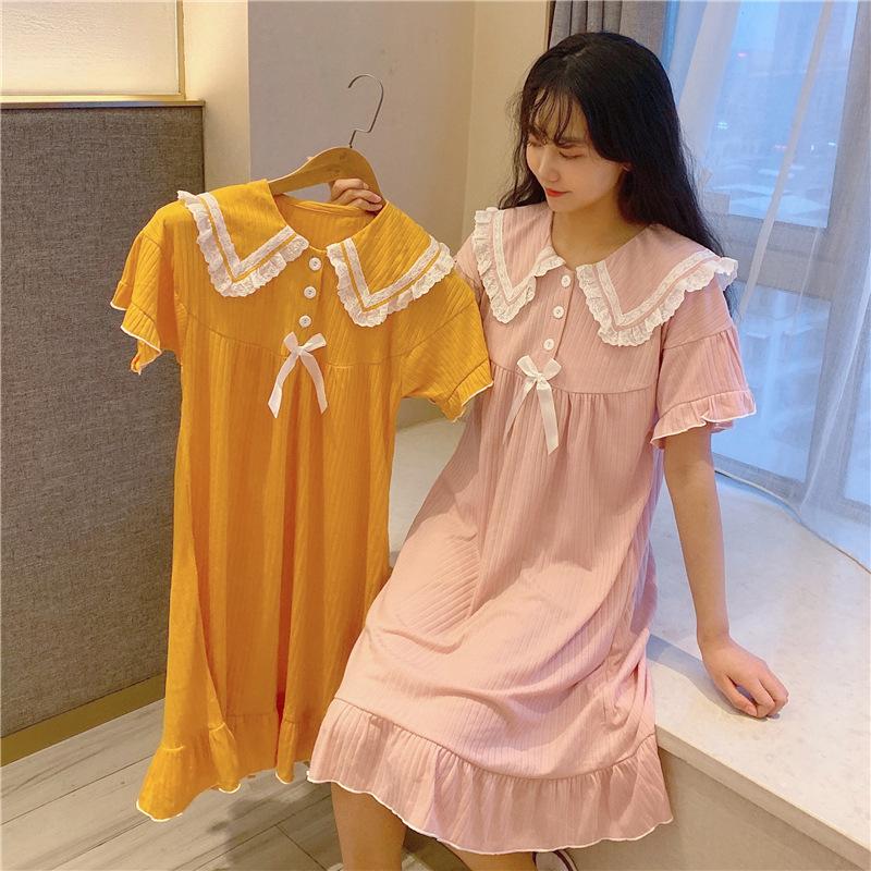 可愛娃娃領短袖睡裙女夏薄款針織棉甜美公主風睡衣小清新休閑短裙