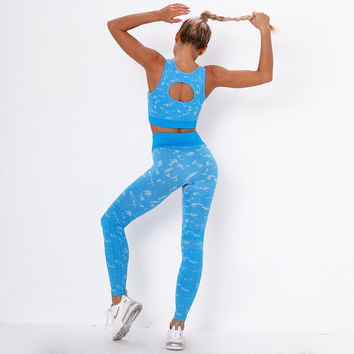seamless knitted moisture wicking jacquard camouflage yoga suit NSLX9041