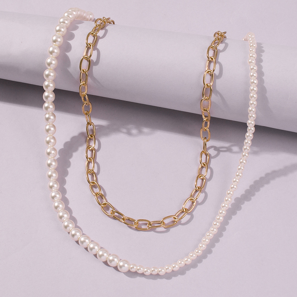 Fashion elegant necklace pearl necklace simple alloy multilayer necklaces wholesale nihaojewelry NHMD238170