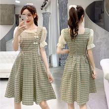 夏装2020新款女收腰显瘦气质法式复古格子汉服改良版中国风连衣裙