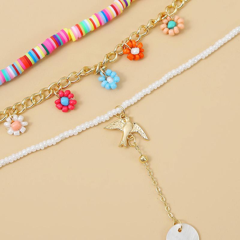 rice beads soft ceramic three multilayer handmade necklace bohemian woven long pendant jewelry wholesale nihaojewelry NHLA232209