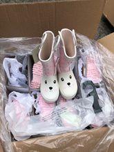 外贸新款可爱卡通波点兔兔图案儿童雨靴雨鞋 S