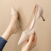 2020-5 han edition fashion pointed mouth shallow white gauze high heels web celebrity fairy wind women's shoes sexy stilettos for women's shoes