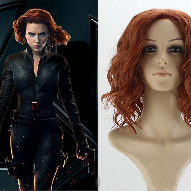 European and American new hairstyle cos animation Avenger alliance black widow Cosplay wig headgear red brown spot