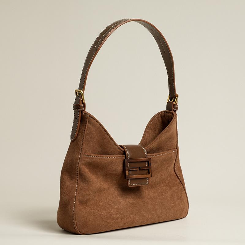 New Women's Bag Retro Suede Underarm Bag Advanced Frosted Texture One-shoulder Handbag Messenger Bag