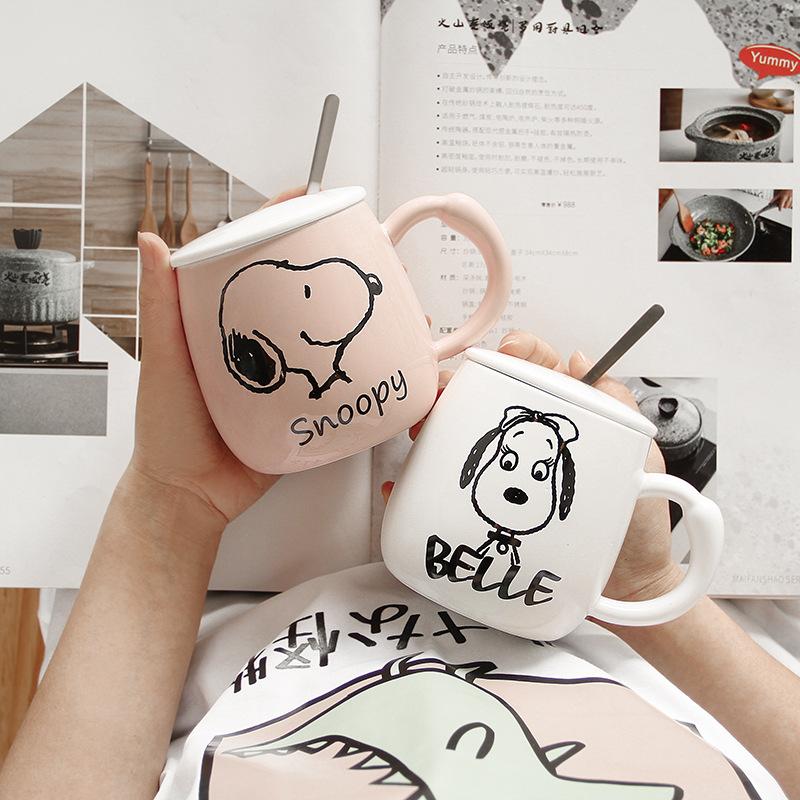 史努比马克杯带盖勺超可爱杯子创意送礼杯陶瓷个性办公室水杯潮流