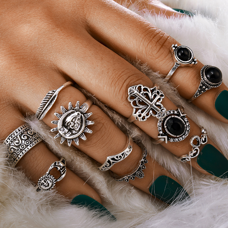 Fashion Vintage Carved Sun Feather Cross Black Gem Ring 11 Piece Set Set NHGY202884