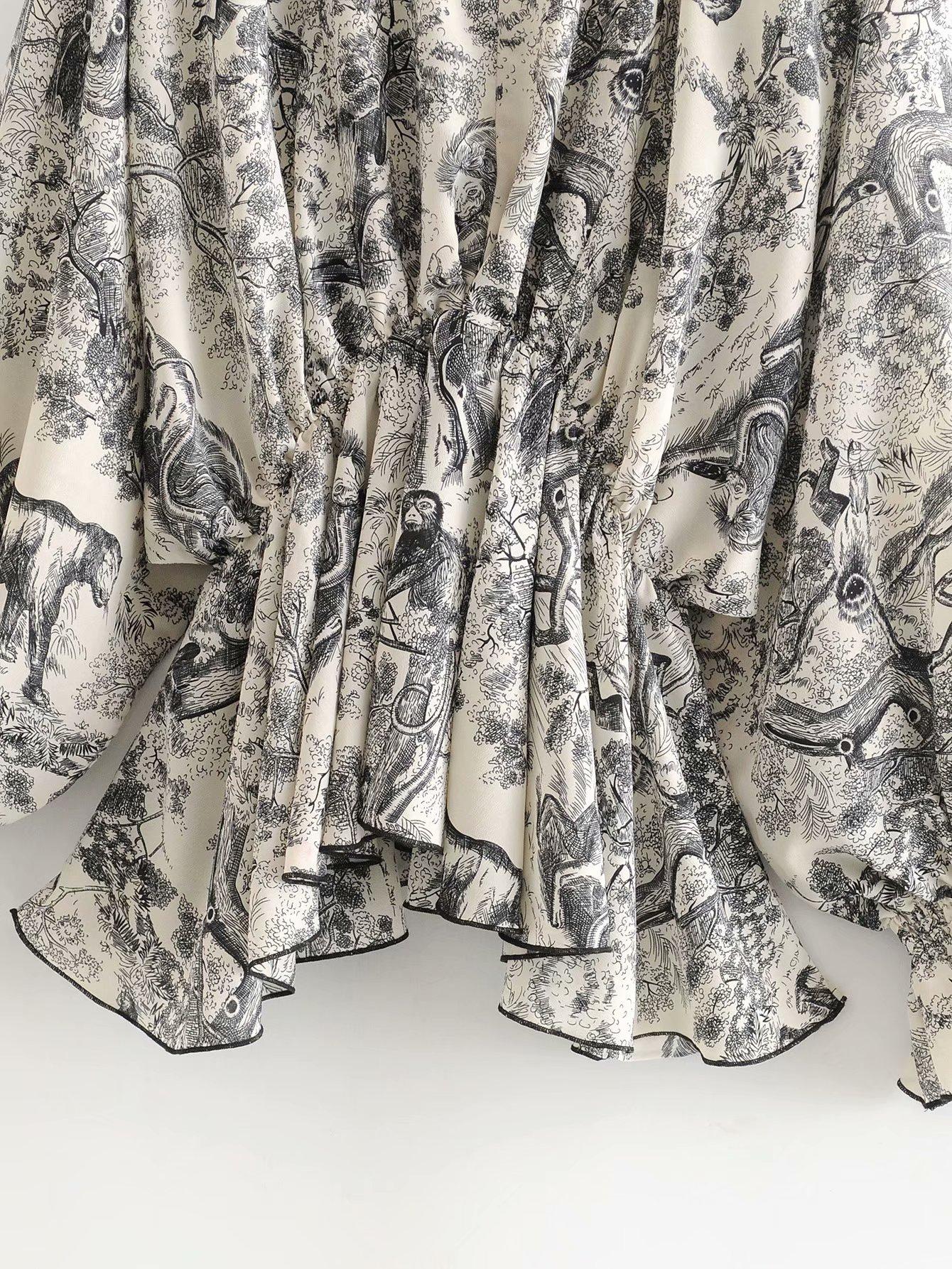 Wholesale Spring and Summer New Ink Print Chiffon Shirt V-Neck Long Sleeve Top NHAM201530