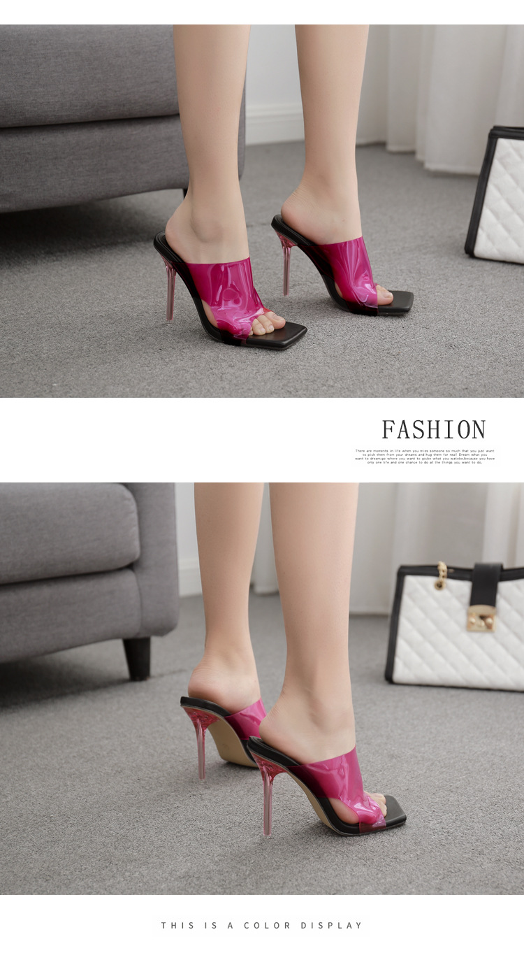 new womens summer square head crystal highheeled stiletto womens sandals wholesale nihaojewelry NHSO244265