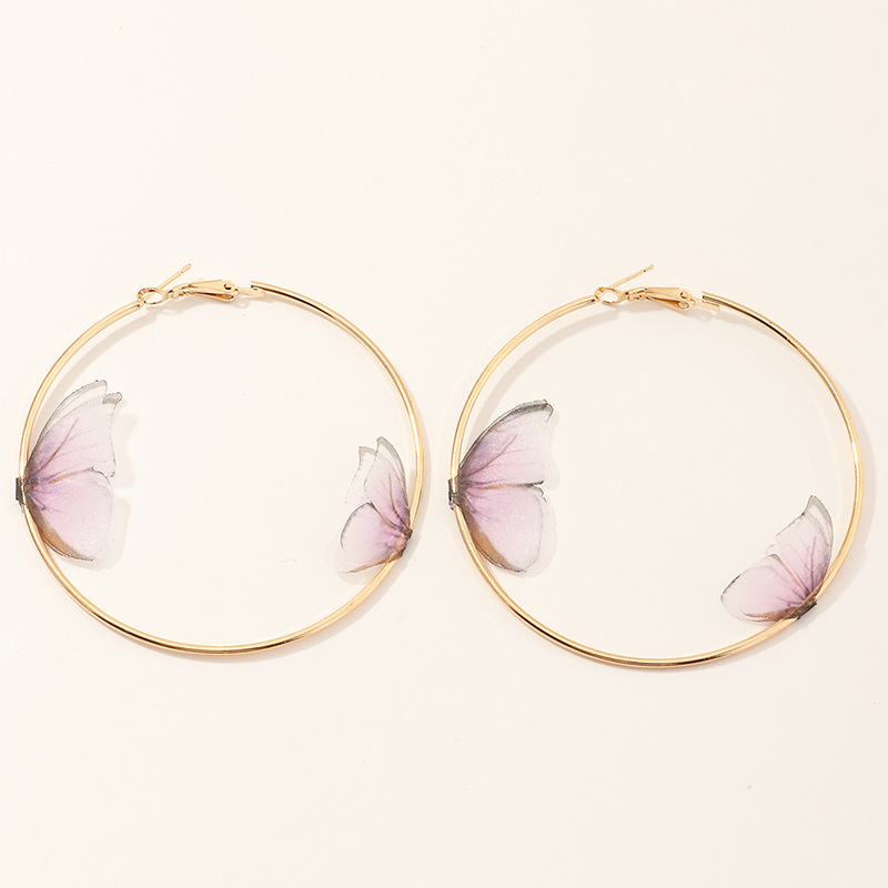 Fashion Pink Round Three-dimensional Tulle Double-layer Butterfly Ring Earrings
