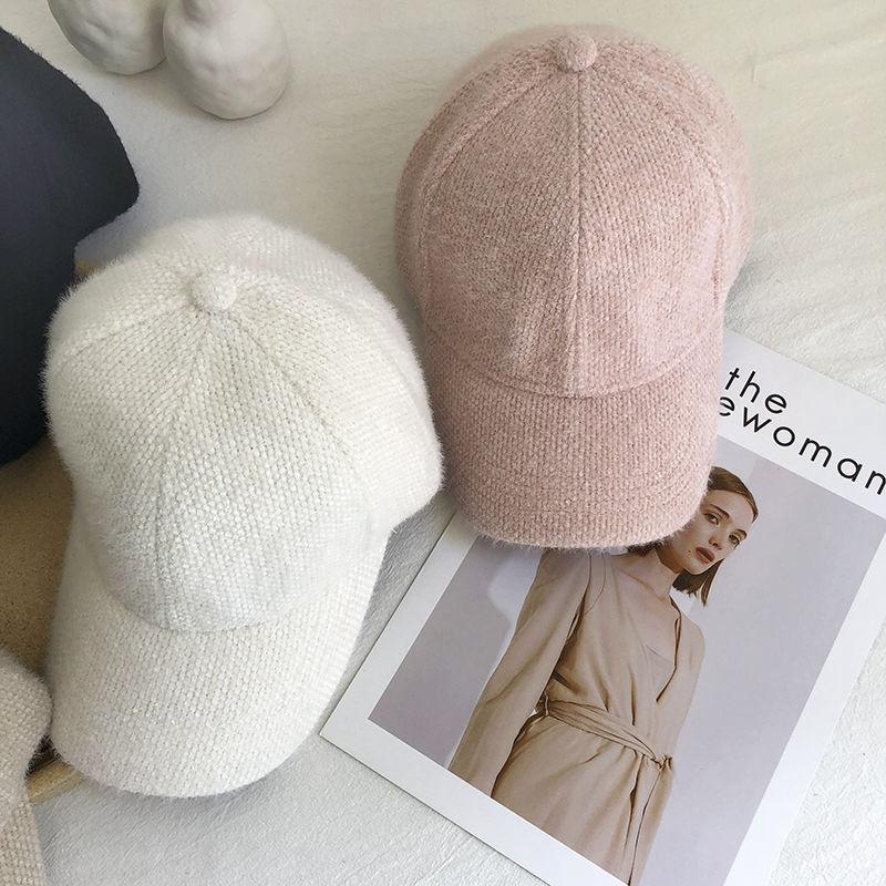 帽子女秋冬季兔毛保暖鸭舌帽显脸小可爱时尚韩版棒球帽白色黑色帽