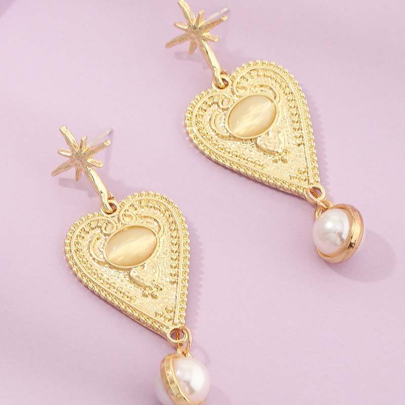 new baroque pearl  love  retro eight-pointed star earrings wholesale   NHNZ240234
