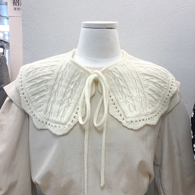Fake collar Detachable Blouse Dickey Collar False Collar Crochet fake collar with sweet knitted shawl and neck