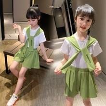 2020新款童套裝女童夏款中大童字母豹紋貓咪兩件套一件代發D102