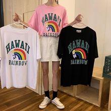 [與恩君]A455夏季新款彩虹字母寬松中長款短袖百搭圓領套頭T恤女