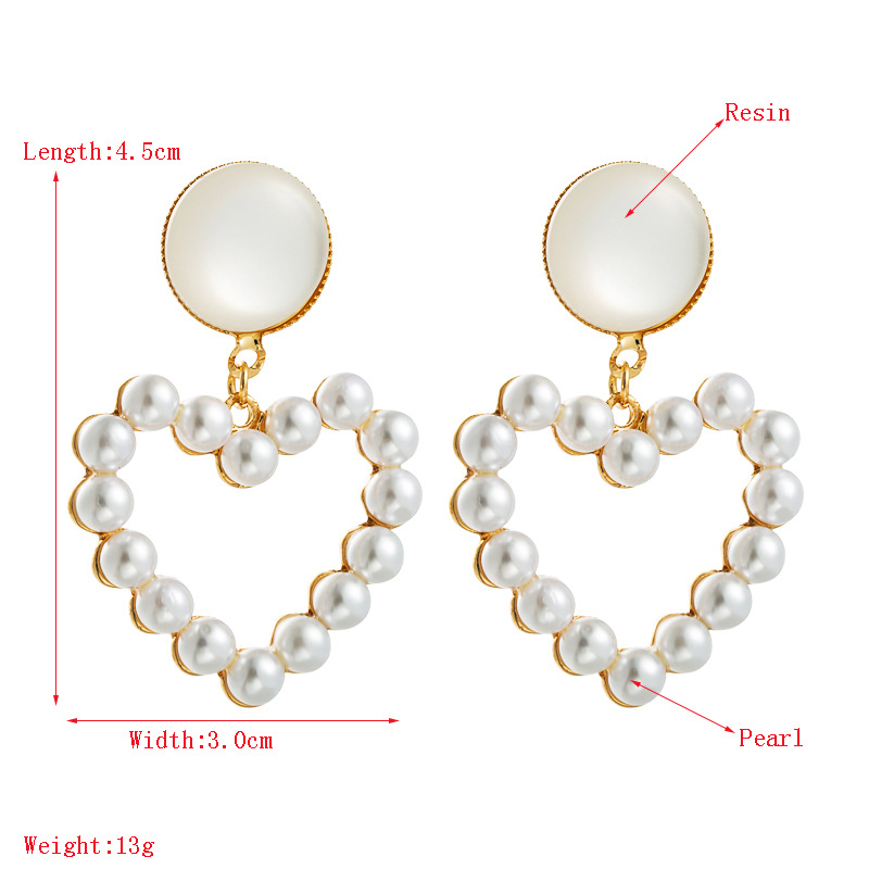 fashion S925 silver needle Korean earring super fairy pearl heart-shaped earrings wholesale nihaojewelry NHLN234286