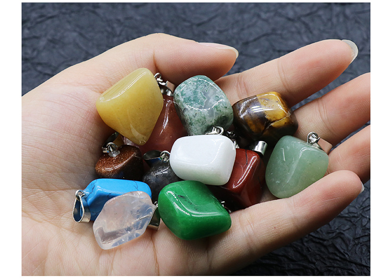 Crystal agate pendant 20 PIECES random mixed colors NECKLACE PENDENT NHKES356061