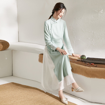 Cheongsam dress yoga meditation dresses female cotton and linen Zen tea dress Chinese style literary temperament long skirt