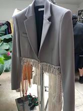 2021春秋季新款女西装外套 重工水钻英伦灰色小个子宽松西装外套