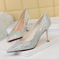 998-7 han edition sexy show thin party shoes high heel with shallow mouth tip diamond wedding shoe heels shoes
