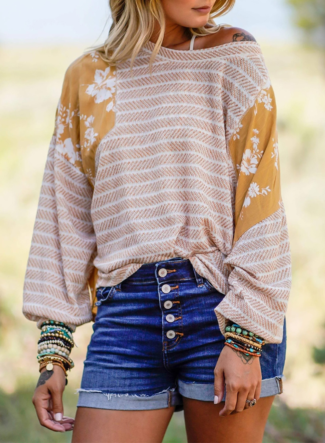 knitted sweater women new striped floral stitching loose round neck long sleeve pullover NSSI3433
