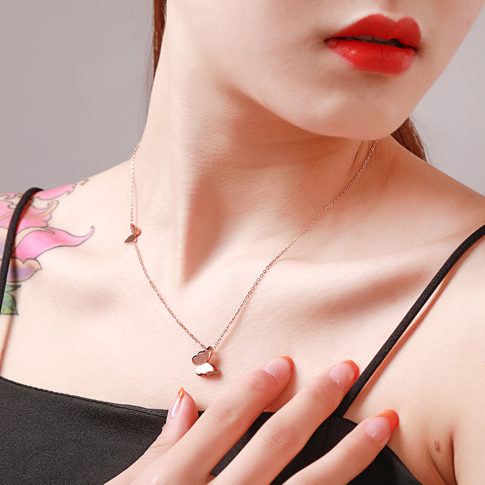 Korean simple titanium steel butterfly necklace female stainless steel butterfly clavicle chain NHJJ206730