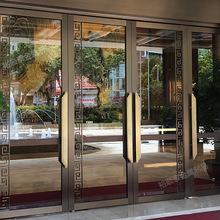 设计豪华酒店宴会大厅不锈钢大门 厂家定制售楼部工程钢化玻璃门