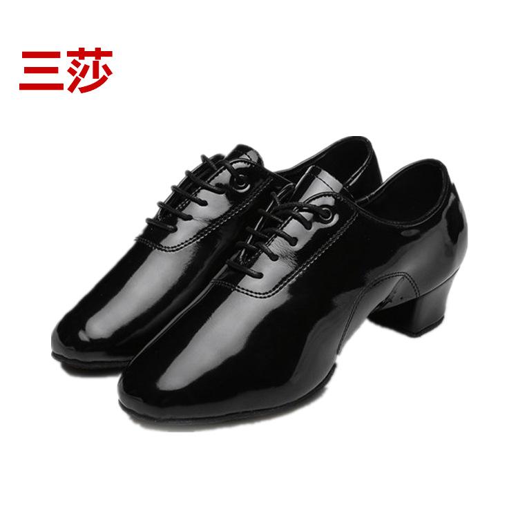 三莎成人儿童拉丁舞鞋男舞蹈鞋 男士男孩黑色摩登鞋子 软底舞蹈鞋