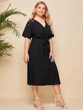 2021亞馬遜新款歐美風大碼女裝胖MM春夏款蕾絲拼接長款連衣裙