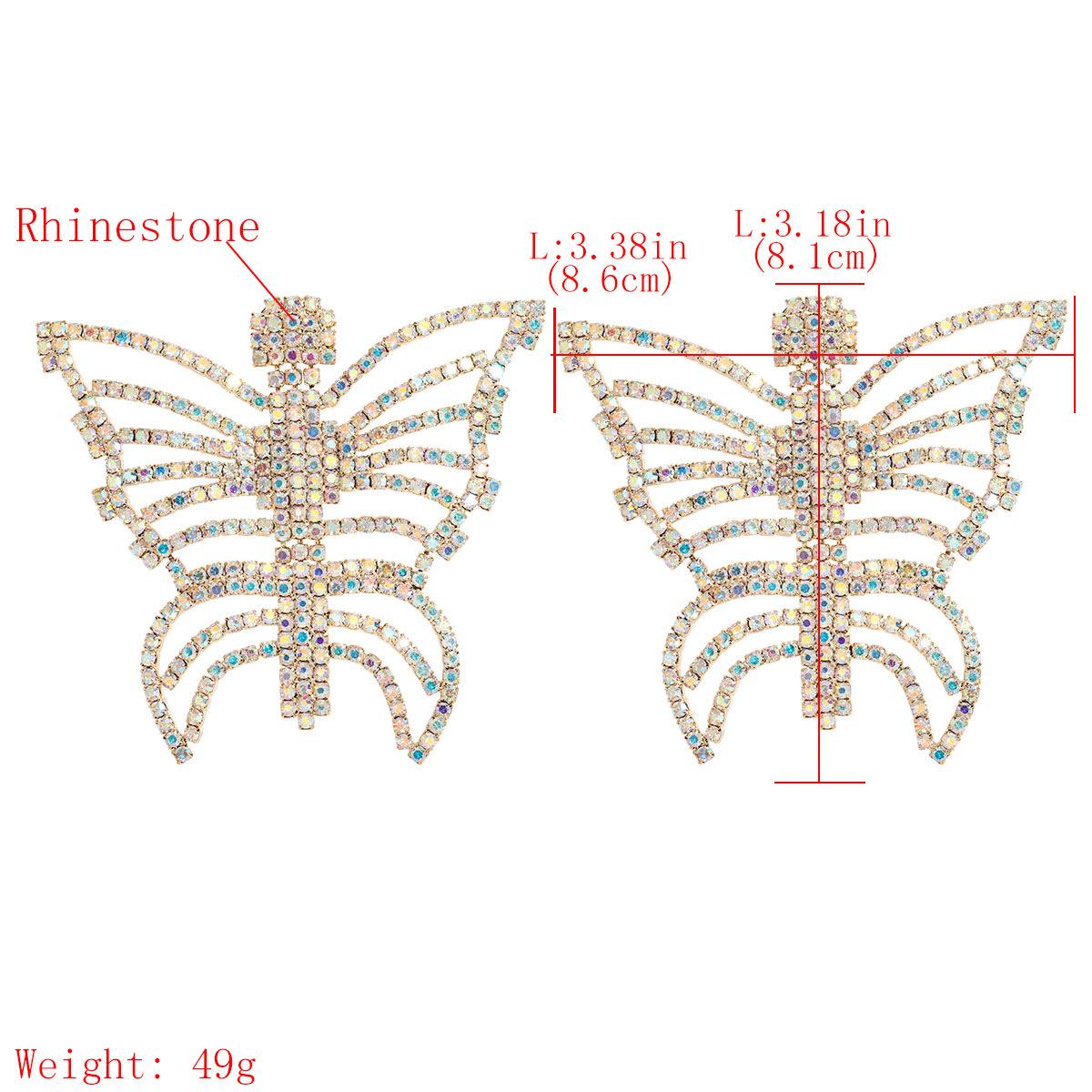 Pendientes de mariposa de diamantes de imitación de diamantes de aleación hueca creativa NHJE256117