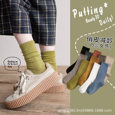 货源袜子女中筒韩版春夏长筒堆堆袜纯色ins潮流日系复古女士袜子批发批发