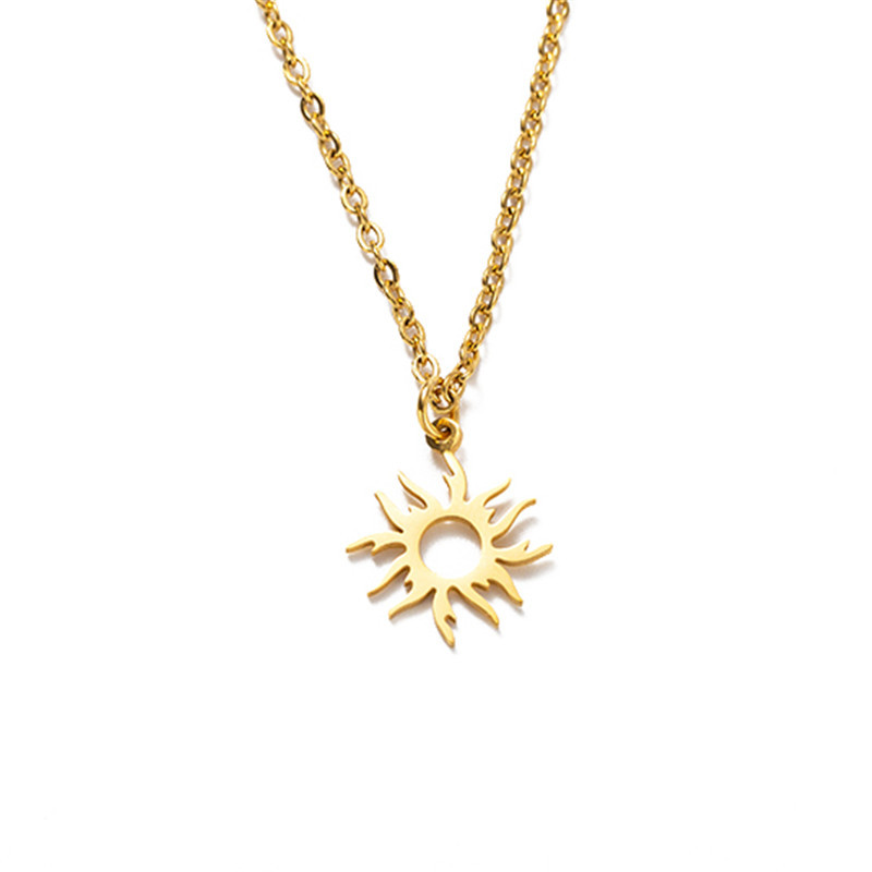 hot-selling titanium steel sunflower crown necklace  NHYL271401