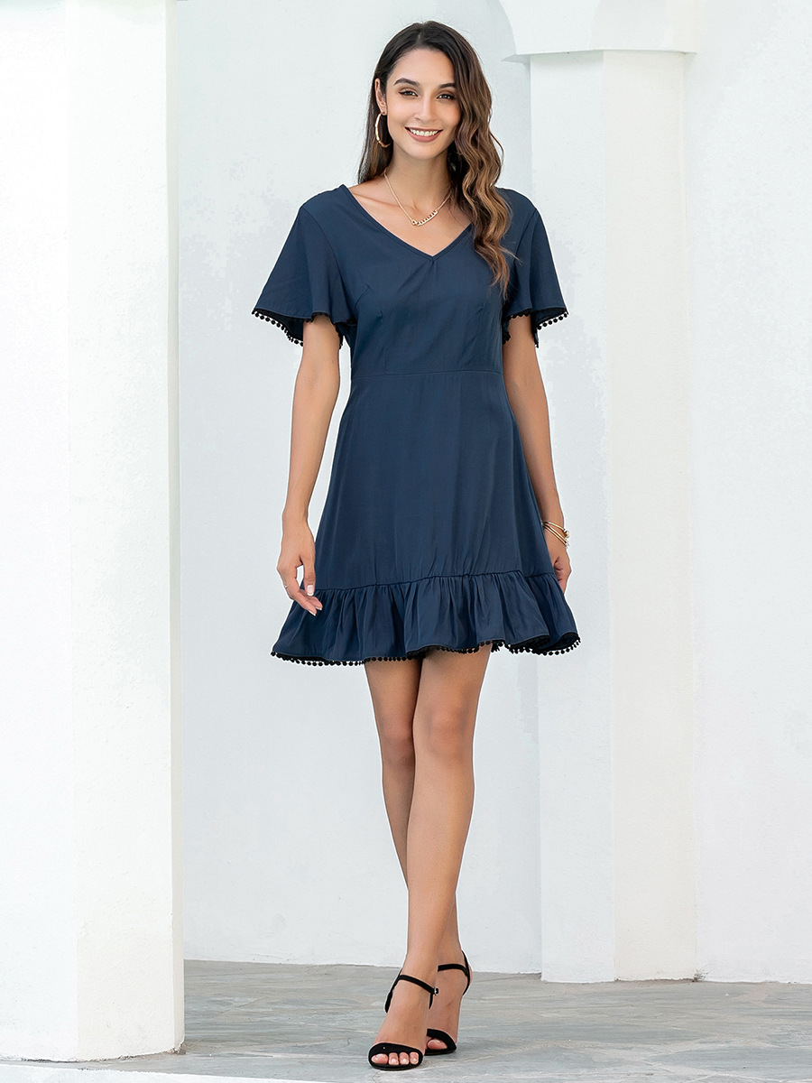 pure color V-neck halter lace casual dress NSAL2120