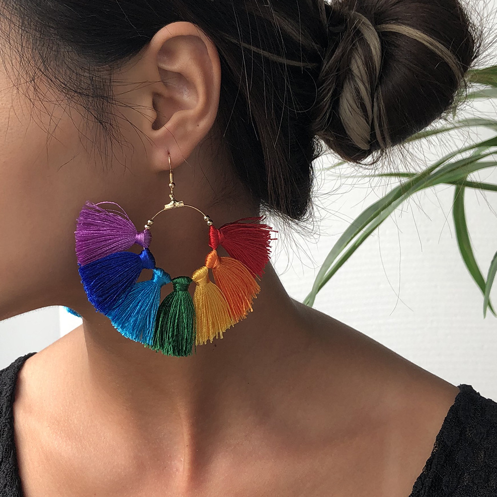 rainbow color series earrings fashion exaggerated color skirt earrings half circle earrings jewelry hot sale wholesale nihaojewelry NHMD236035