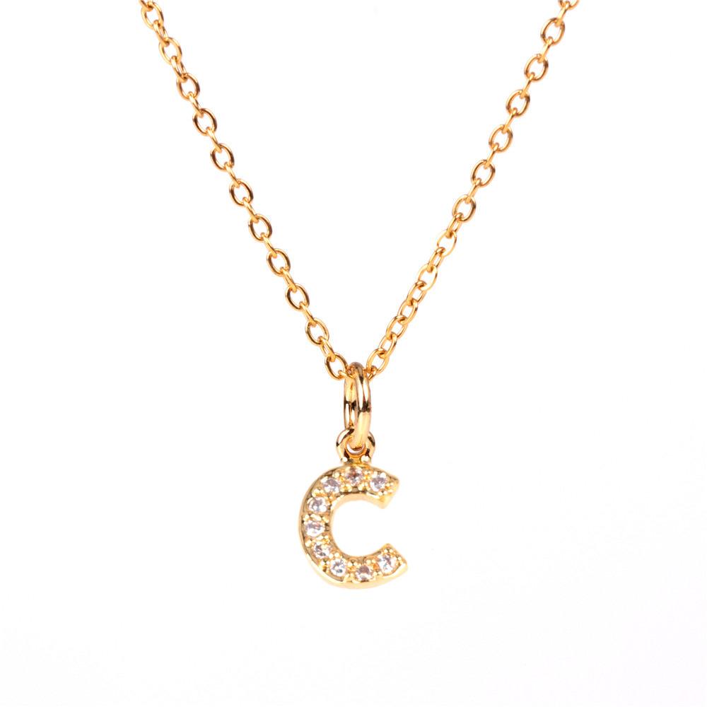 New Fashion 26 English Alphabet Pendant Necklace Diamond Clavicle Chain Wholesale NHPY209799