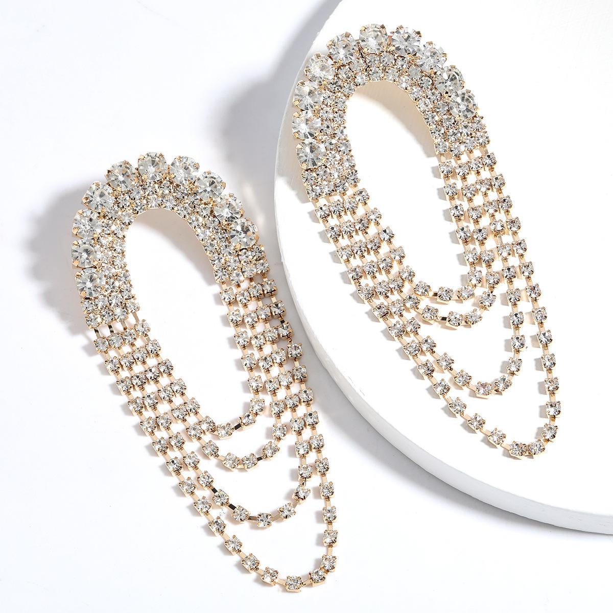 Arched Alloy Diamond Rhinestone Multilayer Tassel Earrings wholesale nihaojewelry NHJE242127