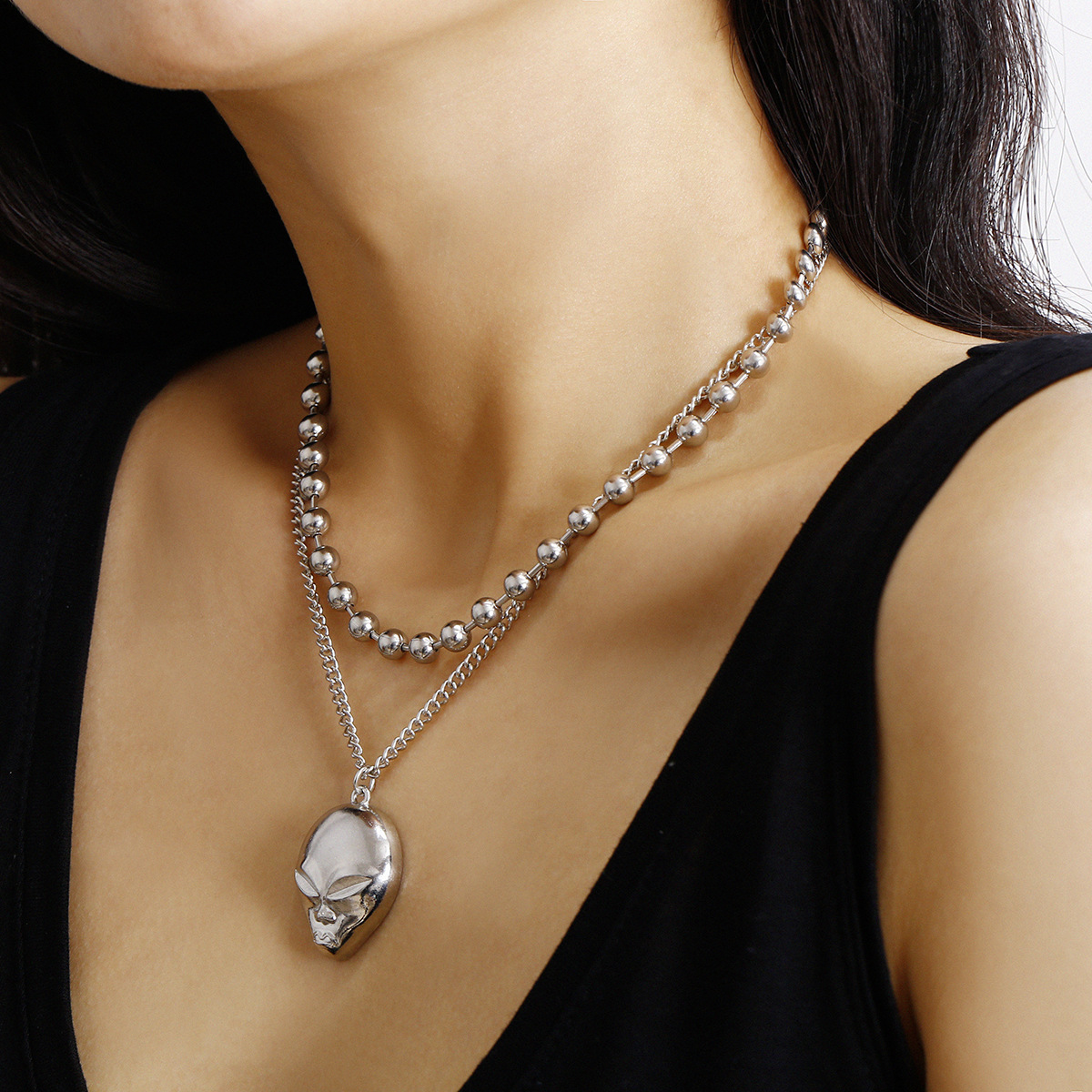 New fashion simple metal ball bead suit item three-dimensional relief fox suit necklace women NHXR204525