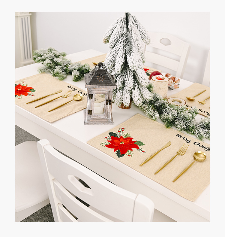 new Christmas day decoration supplies big red flower  atmosphere layout table mat tablecloth table cloth NHHB262259