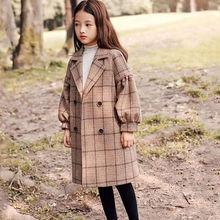 女童毛呢外套2020新款中大童韩版洋气中长款呢子大衣女宝秋冬装潮