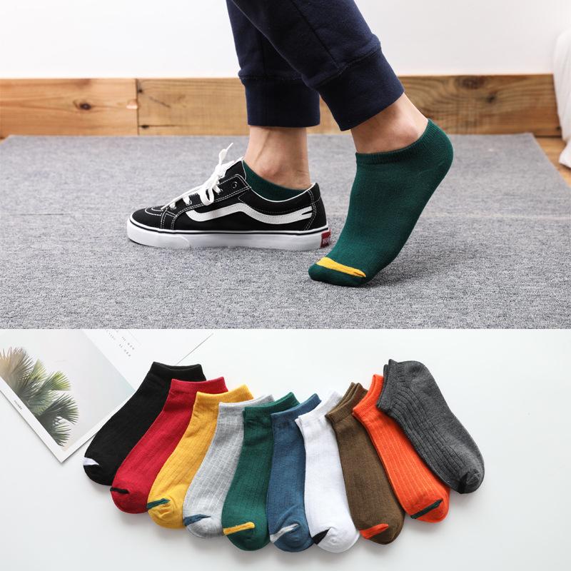 袜子男秋季男士船袜低帮提耳短袜网眼运动袜潮流纯色地摊男士袜子