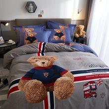 促销加厚纯棉磨毛四件套卡通条格保暖亲肤全棉四件套床单床上用品