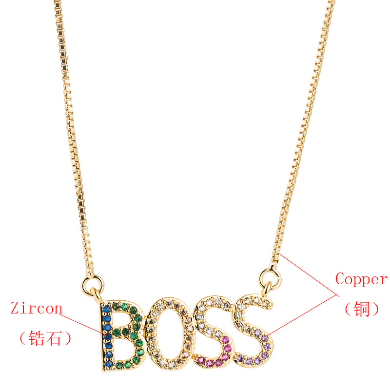 Accessories copper inlaid colorful zircon BOSS alphabet pendant necklace female fashion clavicle chain NHLN196516