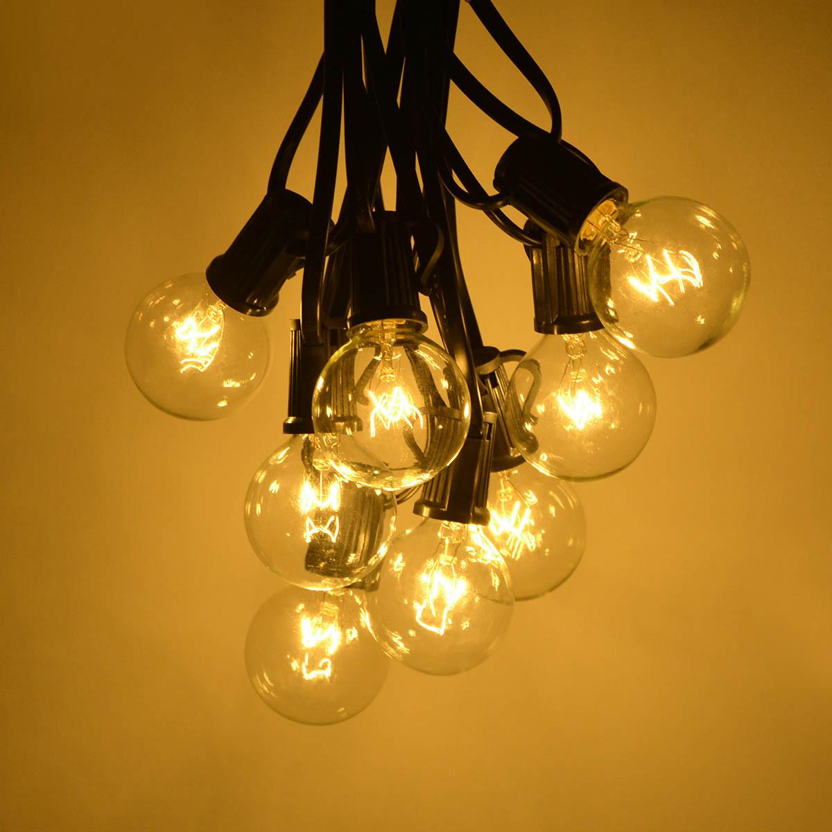 跨境现货G40灯串 220V钨丝灯泡防雨户外圣诞节日装饰灯串