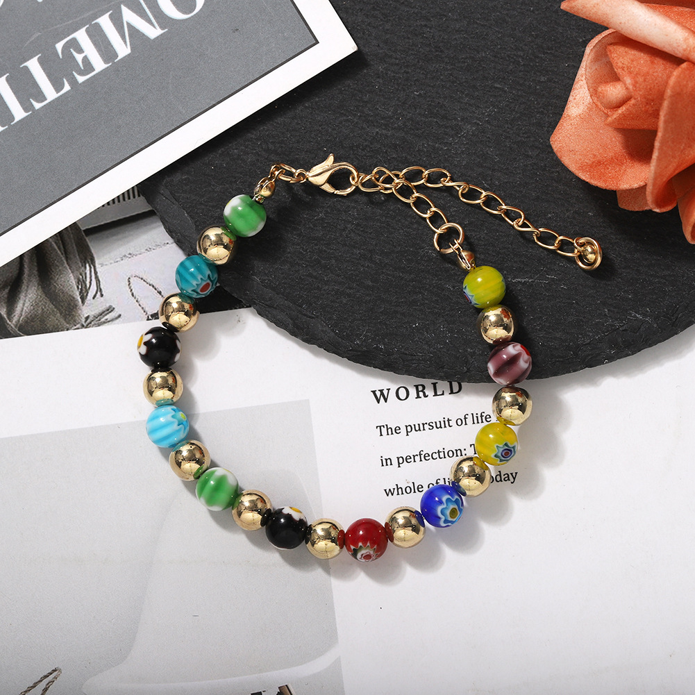 Fashion beaded flower pattern adjustable bracelet for women wholesale NHJQ206534