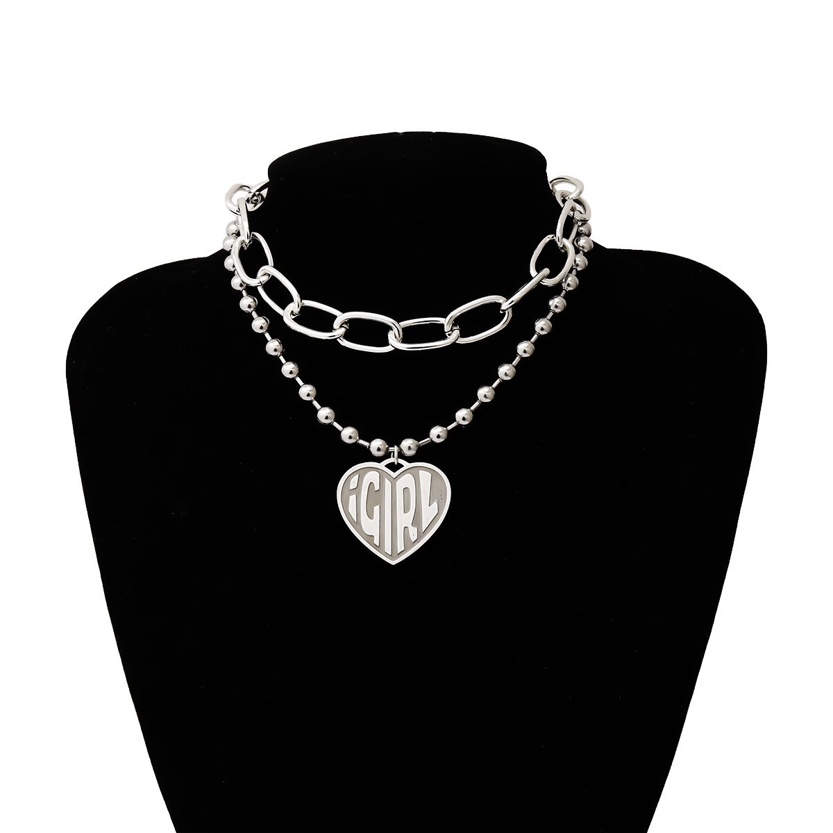 Fashion jewelry yiwu nihaojewelry wholesale exaggerated cross round bead chain accessories female retro heart-shaped letter relief necklace NHXR213624