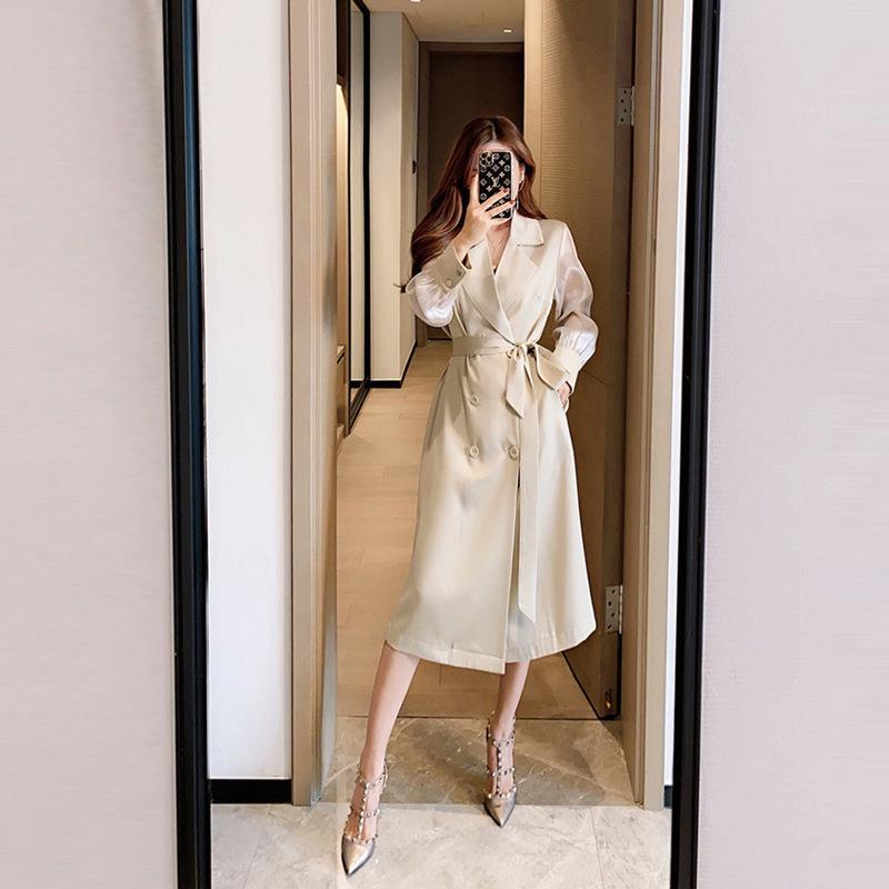 董小姐高端定制风衣女2021新款中长款春装薄外套欧根纱袖醋酸大衣
