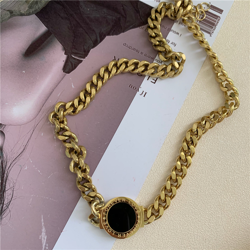 exaggerated black round thick chain titanium steel fashion necklace NHYQ269404