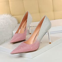 6826-3 Europe and the United States show thin thin and sexy party high-heeled shoe shining color matching color gradient sequins sheet wedding shoes