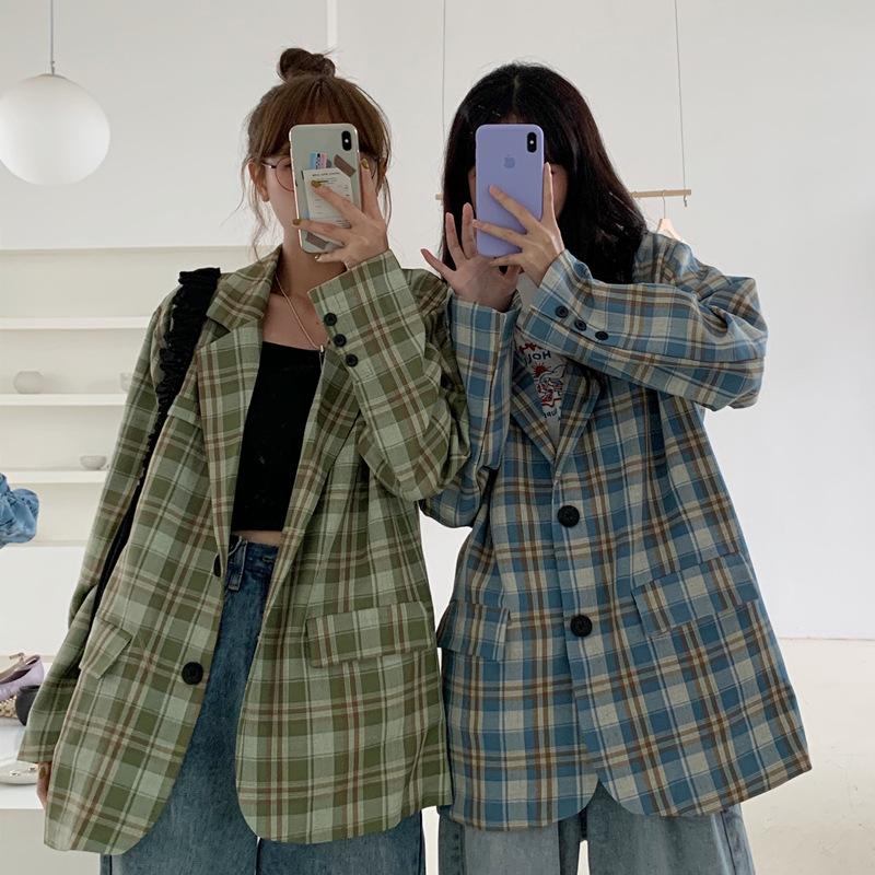 秋季2020新款复古法式拼色格子宽松中长款时尚休闲长袖西装外套女